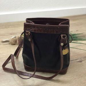 Brahmin Black Bucket Bag Croc Embossed Brown Trim